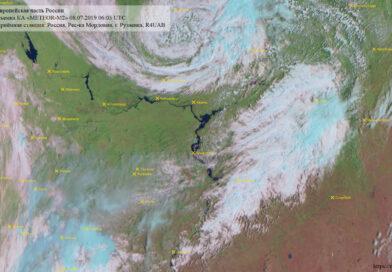Метеоснимок со спутника METEOR-M2 08.07.2019 06:03 UTC