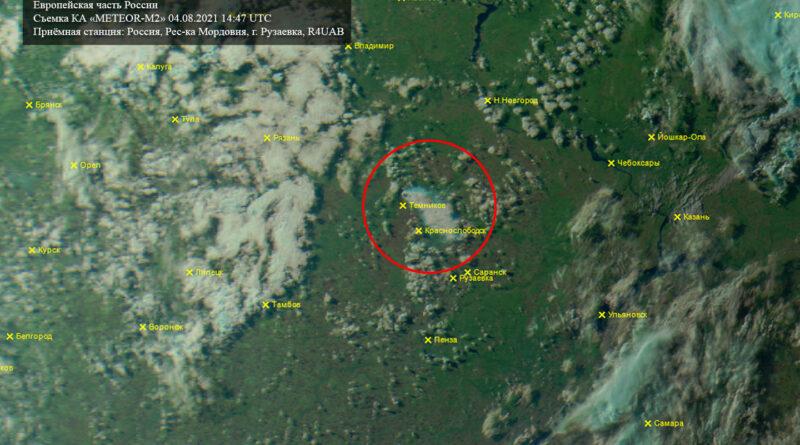 КА METEOR-M2; Дата съёмки: 04.08.2021; Время: 14:47 UTC.
